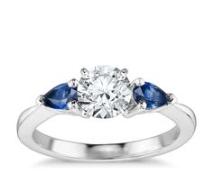 Classic Pear Shaped Sapphire Engagement Ring in 18k White Gold   Blue Nile