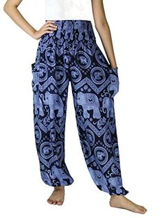 NaLuck Womens Boho Elephant Smocked Waist Yoga Baggy Harem Pants PJ07Navy3 Free Size * To view further for this item, visit the image link.