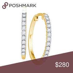 """10k Yellow Gold Natural 💎 Hoop Earrings 1/5 Cttw 10k Yellow Gold Round Natural Diamond Womens 2/3"""" Slender Hoop Fine Earrings 1/5 Cttw  Product Specification Gold Purity & Color10kt Yellow Gold Diamond Carat1/5 Ct.t.w. Diamond Clarity / ColorI1-I2 / H-I Length17 mm ( .67 inches ) Width1 mm ( .04 inches ) Gram Weight1.61 grams (approx.) StyleHoops Item NumberLarimaro-46090 Jewelry Earrings"""
