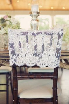 Lace wedding chair covers #lacedetails #weddingdecor
