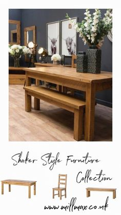 The shaker style farmhouse dining table is the perfect dining solution for any country kitchen diner or dining room and with companion dining benches & chairs to match. The table has a useful single drawer under the tabletop for storing cutlery etc. Country Kitchen Diner, Farmhouse Kitchen Tables, Dining Table In Kitchen, Kitchen Decor, Shaker Style Furniture, Dining Table With Bench, Shaker Style Kitchens, Home Furnishings, Interior