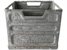 Antique Galvanized Zinc Milk Crate Sealtest Dairy  sc 1 st  Pinterest & 112 best Galvanized treasures images on Pinterest | Garden deco ...