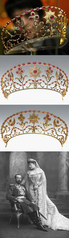 Ruby and diamond kokoshnik tiara. A grandson of Tsar Nicholas I gave Countess Sophie of Merenberg, Countess of Torby, the tiara made by Bolin as a wedding gift in 1891. This tiara is set in silver, 14k gold, and with 70 cabochon cut rubies, 822 old and rose cut diamonds. Bsides it is removable 6 parts, earrings, brooches and necklaces. Bottom: Grand Duke Mikhail Mikhailovitch of Russia and Sophia Nicholaievna, 1902. http://www.korona-fond.ru/page.phtml?page_id=18&menu_id=12