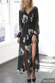 Semi-sheer Long Sleeves Splited Hem Sexy Dress In Floral Print Abiti Alla  Moda 57976ee605d