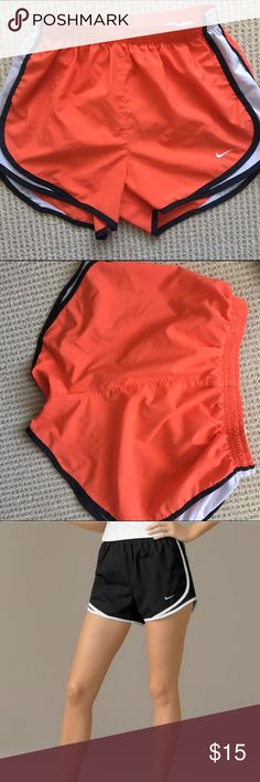 Nike Dri Fit Tempo Track 3.5 Shorts Peachy Orange No stains, snags, rips, or visible wear in fabric. Great peachy-orange color with white and black detail, high visibility for runners . Measurements: Waist Measurement: 24 in Outseam: 11 in Inseam: 3 1⁄2 in Front Rise: 11 in Back Rise: 12 in Leg Opening: 22 in Product measurements were taken using size SM, inseam 3.5. Nike Shorts