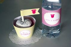 Water bottle & cupcakes toppers and wrappers