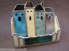 House-Business-Card-Holder-Stained-Glass-Handmade-Signed-Realtor-Houses