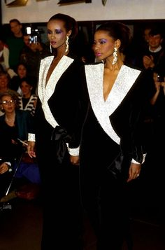 Iman and Mounia Calvin Klein Yves Saint Laurent, Princess Caroline, Strike A Pose, Double Exposure, Free Pictures, Calvin Klein, Sari, Formal Dresses, Ball Dresses