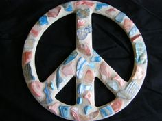 Red and Blue Abalone Shell Peace Sign Wall Art by breakitupdesigns, $28.00