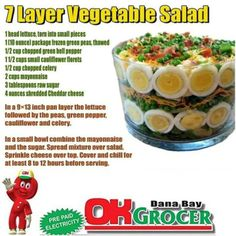 Delicious salad will make any gathering great. For all the ingredients, head down to OK Grocer Danabaai. And Let us know how it tastes like? 7 Layer Salad, 7 Layers, Green Bell Peppers, Green Peas, Vegetable Salad, Cheddar Cheese, Lettuce, Celery, Salad Recipes