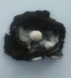 HANDMADE WET FELT Flower Wool Brooch Dark Brown & Cream 4inches by KelliesFelt on Etsy