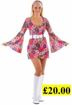 c61e6db6351 retro go-go girl flowery 60s 70s fancy dress costume Go Go Girl Costume