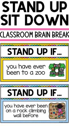Quick brain break game Stand Up Sit Down First Day Of School Activities, 1st Day Of School, Beginning Of School, School Fun, Morning Meeting Activities, First Grade Classroom, Kindergarten Classroom, Music Classroom, Physical Education Lessons