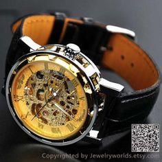 Mens Watch Steampunk Wrist Mechanical Watch by Jewelryworlds, $19.99