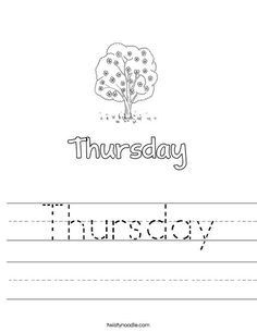 Tuesday Worksheet - Twisty Noodle | Worksheets, Letter of ...