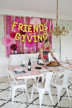 If you're spending this Thanksgiving with friends instead of family, you're not alone. Friendsgiving is a growing holiday tradition, especially among Holiday Tables, Holiday Parties, Holiday Fun, Dinner Parties, Favorite Holiday, Holiday Ideas, Hosting Thanksgiving, Thanksgiving Crafts, Friends Thanksgiving