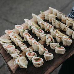 Tasmanian smoked salmon roulade of French crepes, chervil cream farce 🐯 Salmon Roulade, French Crepes, Smoked Salmon, Finger Foods, Pasta Salad, Cream, Ethnic Recipes, Food, Crab Pasta Salad