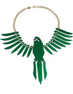 Green parakeet necklace.