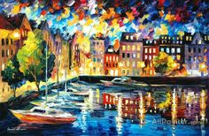 Leonid Afremov Amsterdam's Harbor oil painting reproductions for sale