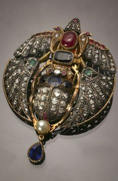 Egyptian Revival Gold, Silver, Diamond, Blue Sapphire, Ruby, Emerald and Cultured Pearl Scarab Pendant-Clip, Circa 1895. #EgyptianRevival #pendant #clip