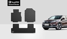 ToughPRO Honda CRV Floor Mats Set All Weather Heavy Duty Black Rubber 20122016 ** Find out more about the great product at the image link. Amazon Sale, Honda Crv, Cr V, Car Floor Mats, Black Rubber, Front Row, Image Link, Weather, Flooring