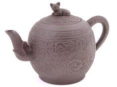 Cat and Peony Flower Yixing Teapot Yixing Teapot, Clay Teapots, Dragon Egg, Peony Flower, Home Deco, Tea Time, Peonies, Tea Pots, Pottery