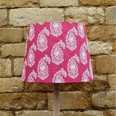 Paisley Raspberry Linen French Tapered Light Shade, fabulously pink, unique and quirky designs www.serendipityhomeinteriors.com