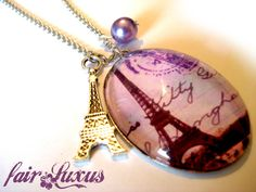 """Wunderschöne, elegante Vintage Silberkette mit nostalgischem """"Eiffelturm"""" Anhänger, einem wundervollen Eiffelturm-Charm, sowie einer farblich abgestim"""