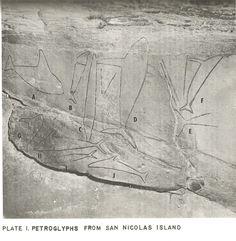 """Cave of the Whales"" petroglyphs, San Nicolas Island. UCLA Archaeological Survey 1960"