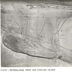 """Cave of the Whales"" petroglyphs, San Nicolas Island. UCLA Archaeological Survey 1960"