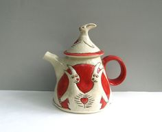 Conjoined Rabbits Teapot Red by barbaradonovan on Etsy, $120.00