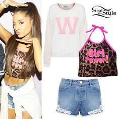 Ariana Grande posed with fans at her concert in Birmingham last week wearing the O'Mighty Girl Power Leopard Halter Top (sold out) – similar style ($43.70), Missguided Crochet Hem Denim Shorts ($53.00), and a Wildfox Oversized Cheer Squad Sweatshirt ($108.00) tied around her waist.