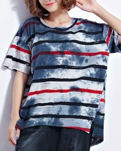 Striped tie dye t shirt oversize ripped holes for teenage girls
