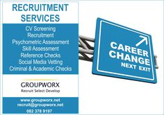 Groupworx is a people and business management consulting firm specialising in recruitment, selection, and development. Recruitment Services, Consulting Firms, Career Path, Focus On Yourself, Business Management, Priorities, Assessment, The Selection, Social Media
