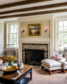 Family Room Addition with traditional stone fireplace along the Main Line, PA  Great Room  Living  Family Room  Colonial  American  TraditionalNeoclassical by Period Architecture