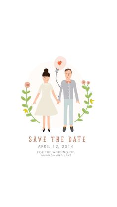 Announce your big day with these one of a kind custom portrait save the dates! Card features couple in illustrated likeness. Creative Wedding Invitations, Wedding Invitation Inspiration, Wedding Photo Inspiration, Digital Invitations, Wedding Invitation Design, Wedding Stationery, Invites, Wedding Drawing, Wedding Art
