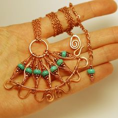 Copper and Turquoise Herringbone Fan Necklace and Earrings | JewelryLessons.com