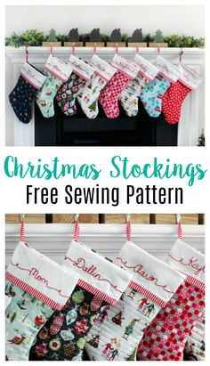 A free pdf Christmas stocking pattern to use for family stockings. Let everyone … A free pdf Christmas stocking pattern to use for family stockings. Let everyone choose their own fabric and tie everything together with coordinating trim! Family Christmas Stockings, Quilted Christmas Stockings, Noel Christmas, Homemade Christmas, Knitted Christmas Stocking Patterns, Christmas Sewing Patterns, Quilted Christmas Ornaments, Christmas Music, Christmas Ideas