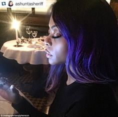 Dramatic look: The second showed Taraji enjoying dinner out and was a repost of a snap from her make-up artist, Ashunta Sheriff, who captioned it: 'Catching a bite with the homie'