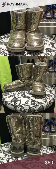 Silver sequin UGG boots I am selling my sequin UGG boots. They are a size 6 in women's and have not been worn a lot. I don't find my self reaching for these anymore so I figured I'd let someone else enjoy them! UGG Shoes Winter & Rain Boots