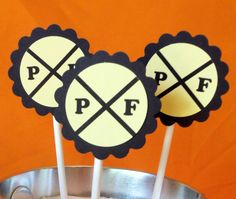 "Love these Cupcake Toppers - you can have the birthday boys' initials OR ""R/R"".  So cute!"