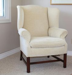 Pair of cream Wing-Backed Chairs $100 takes both - VarageSale Sarnia