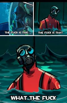 Pyro is confused, so confused he set fire to himself Tf2 Funny, Stupid Funny Memes, Funny Comics, Tf2 Pyro, Tf2 Memes, Team Fortess 2, Video Game Memes, Cartoon Memes, Gaming Memes