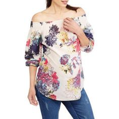Whoa, Wait Maternity Off the Shoulder Smocked Top, Size: XL, Multicolor