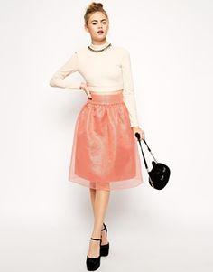 Юбка миди цвета розовый металлик с прозрачным верхним слоем ASOS Premium