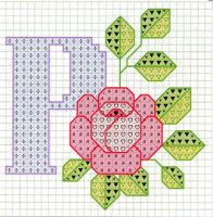Rose alphabet P Cross Stitch Letters, Cross Stitch Cards, Cross Stitch Rose, Counted Cross Stitch Patterns, Cross Stitch Designs, Cross Stitching, Embroidery Alphabet, Embroidery Art, Cross Stitch Embroidery