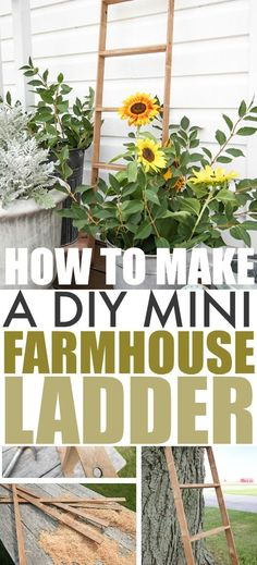 This mini DIY farmhouse ladder is the perfect thing to bring a little farmhouse style to any area of your home or your porch. A great DIY project for fall decorating! #FallDecor #PorchDecor #FarmhouseLadder #DIYLadder