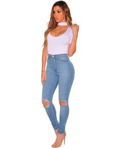 c8d61f215c9451 Light Blue High Quality Hollow Keen Fashion Jeans Ripped Denim, Ripped  Knees, Dark Denim