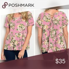 So soft Mauve floral top Cute top back tie - empire waist slightly oversized Mauve floral top Tops