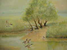 ORIGINAL ANTIQUE LANDSCAPE WATERCOLOR PAINTING FRAMED AMERICAN ART GEESE BIRDS #Impressionism
